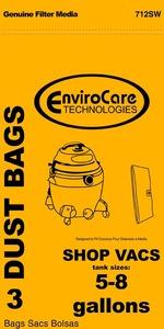 Shop Vac Replacment Svr-1405 Paper Bag, Shop Vac 5-8 Gallon Env 3Pk