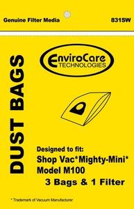 Shop Vac Replacment Svr-14205 Paper Bag, Shop Vac Mighty Mini Env 3Pk