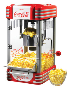 Nostalgia Electrics Coca Cola Series RKP630COKE Stainless Steel Kettle Popcorn Maker, Stirs 10Cups 2.5oz, Measure Spoon & Cup, Window, Light, TiltDoor