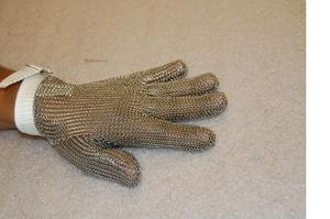 37861: US Mesh Steel Safety 3 Finger Mitten or 5 Finger Glove, Small Medium Large