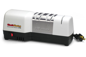 Chef Choice 270 Diamond Hone Abrasive Hybrid Knife Sharpener by EdgeCraft, 3 Stage Electric and Manual System Sharpens, Shapes, Hones, Polishes