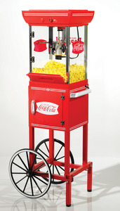 """Nostalgia Electrics Coca Cola CCP399COKE Old Fashioned Movie Time Popcorn Maker Cart 48""""High, Stainless Steel Kettle, Built In Stirring, Under Storage"""