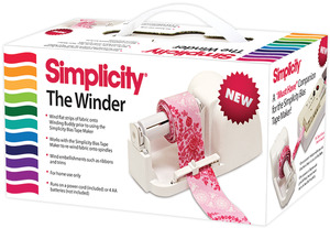 WHITE     -WINDER MACHINE, Simplicity 881979 The Winder For Winding Bias Tape, or Quilt Binding, Also Winding Ribbons and Trims