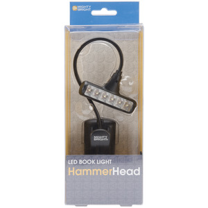 BLACK     -HAMMERHEAD LIGHT, Mighty Bright Hammer Head LED Clip On Book Light, Gooseneck, 2 Brightness Levels, Battery Powered, Optional AC Adapter -Black