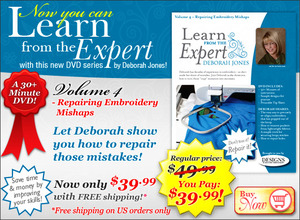 DIME Deborah Jones Learn from the Expert Series Vol 4 Repairing Embroidery Mishaps DVD