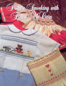 Picture, Smocking, Ellen, McCarn, 48, page, booklet, 7, 12, color, designs, 24, yoke, neck, borders, 100, step, illustrations, cable, stitch, Stacking, Decorative, Back, Smocking