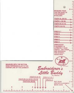 Creative Notions ABC Embroiderers Little Buddy Template Placement Ruler Tool JR