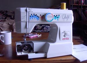 Elna Elnita Graffiti 230 FS Freearm Mechanical Sewing Machine, 1 Dial, 8 Stitches, Buttonhole, Bobbin Winder, HandWheel with Push Pull Clutch, Handle
