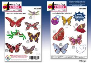 Amazing Designs Great Notions 5005 Jumbo Butterflies Collection I Multi-Formatted Embroidery Designs CD