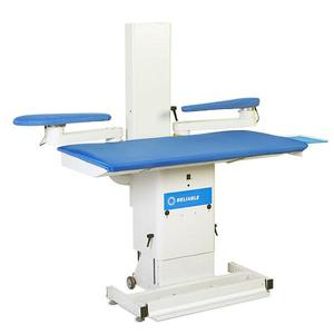Reliable 7600VB Vacuum & Up-Air Commercial Heated Ironing Board Pressing Table 10A .8HP, Adj Height, Cover Pad, Iron Rest, 2 Sleeve Bucks