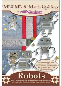 Anita Goodesign 138MAGHD Robots Multi-format Embroidery Design Pack on CD