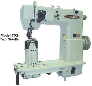 """39918: Consew 702 3/16"""" Double Needle 7"""" Post Bed Needle Feed Machine & Power Stand"""