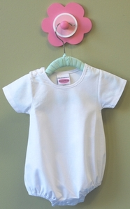 Baby Romper Bubble Suit Blank for Embellishment, Embroidery, 100% Cotton Size 2, 3-6mo