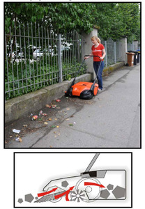 """Oreck PPS40B 31"""" Battery powered Triple Brush Push Power Sweeper, 13.2 gallon debris container, brush height adjustment"""