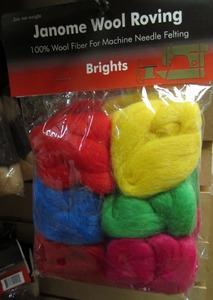 Wool Roving Brights 100% Wool Fiber for Needle Punch Felting Machines   FM725 Xpression FabFelter Embellisher Singer