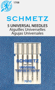 40496: Schmetz 1708 Universal Chrome Plate Needles 5-pk sz 10/70