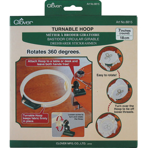 "Clover CL8815, 360° Turnable 7-1/2"" Diameter Hand Embroidery Hoop with Stand"