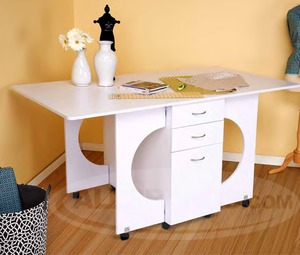"40665: Tailormade Cutting Table 72.5x39.5x36"" White or Teak Assembled/Casters"