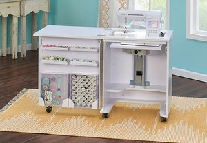 40663: Tailormade Compact Sewing Cabinet C-W001 White or HS-C58 Teak Assembled