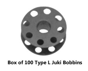 Superior B-9117-012-000 Type L Juki DDL Black Metal Bobbins, Box of 100 with Holes on Both Sides, for All High Speed Industrial Sewing Machines