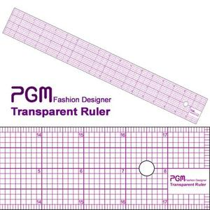 "PGM Pro 808B-A 18"" Pattern Grading Full Grid Transparent Ruler, 18"" L x 2"" W, Shows Inches and Metric Measurements, Thick but also Flexible"
