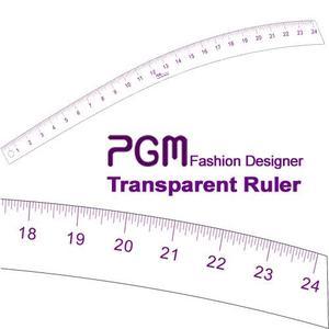 """PGM Pro 808D 24"""" Transparent Curve Stick Ruler, Inch Measurements, Thick but Flexible Material"""