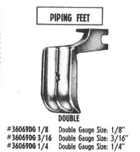 """36069DG 3/16"""" Single Double Welt Cording Piping Foot High Shank Screw On, All Metal"""
