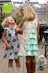 Olive Ann Designs OAD83 Urban Princess Dress and Matching Doll Dress, sz 2-8