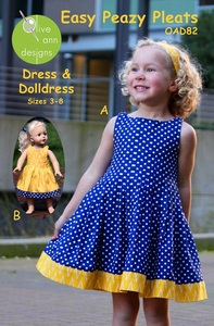 Olive Ann Designs OAD82 Easy Peazy Pleats Dress and Matching Doll Dress sz 3-8