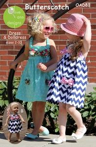Olive Ann Designs OAD81 Butterscotch Dress, & Matching Doll Dress, sz 2-10