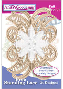 Anita Goodesign 206AGHD Free Stand Lace Full Collection Multi-format Embroidery Design Pack on CD