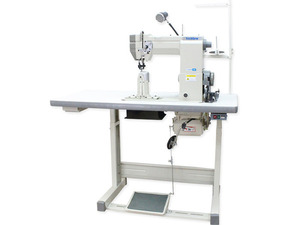 "41378: TechSew 830-2 Single and Double Needle 7""H Post Bed Roller Foot Sewing Machine +Power Stand"