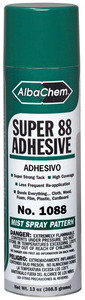 Albatross Albachem 1088 Super 88 Spray Adhesive 13oz x 6 Pack, Strong Tack For Bonding Cloth, Foam, Plastic, Wood, Etc.