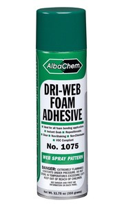 Albatross Albachem 1075 6 Pack Dri-Web Foam Adhesive Spray, 12 oz. Special Purpose Foam Adhesive Spray For Furniture, Bedding, and Upholstery