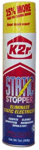 K2R 33101 Static Stopper Anti Static Spray, 7oz Aerosol Cans 6 Pack, for Controlling Static Electricity, Fabrics, Yarns, Clothing, Upholstery, Carpets