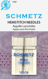 Schmetz 130/705H Hemstitching Single Wing Needles 10PK, Size 16 or 19 for Light Medium Weight Loosely Woven Fabrics, Heirloom, Cutwork
