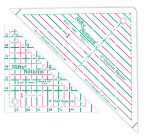 "Nifty Notions NNHSQSSET 4"" Half and Quarter Square Triangle Quilting Rulers, 2 Piece Set by Kaye England"
