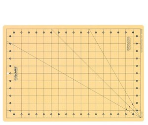 """Fiskars F83707 12x18"""" Cutting Mat Yellow, Self Healing, 30, 45, 60° Bias Lines for Creating Triangle and Star Shapes"""