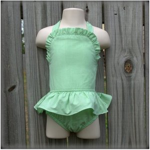 Embroidery Blanks Boutique One Piece Swimsuit, Lime Gingham Size: 3T
