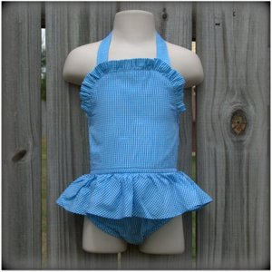 Embroidery Blanks Boutique One Piece Swimsuit, Turquoise Gingham Size: 3T