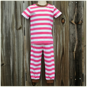 Embroidery Blanks Boutique Short Sleeve Pajamas, Pink Stripe Size: 3T