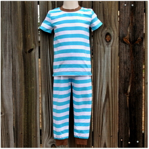 Embroidery Blanks Boutique Short Sleeve Pajamas, Turquoise Stripe Size: 3t