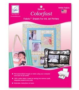 June Tailor JT-950 Colorfast - White (50 sheets/pack) Sew in Fabric Sheets for Inkjet Printers