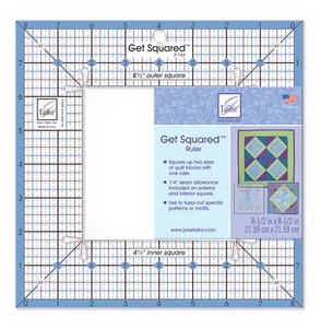 "June Tailor JT-743 Get Squared Ruler - 8-1/2"" Outer Dimensions, 4-1/2"" Inner Dimensions"