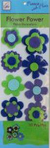 June Tailor Fleece With Flair JT-217 Flower Power Fleece Decorations (Blue/Green)