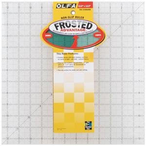 "Olfa QR-12S Square Frosted Advantage 12.5"" x 12.5"" Non-Slip, Acrylic Ruler"