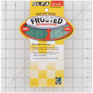 "Olfa QR-9S Square Frosted Advantage 9.5"" x 9.5"" Non-Slip, Acrylic Ruler"