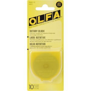 Olfa RB45-10 45mm Circular Rotary Replacement Knife Blades 10 Pack