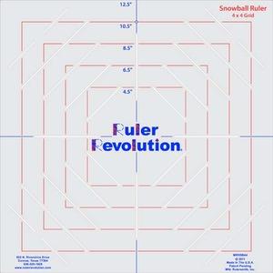 """Ruler Revolution MRRSB8 4x4"""" Snowball Ruler, 5  Block Sizes"""
