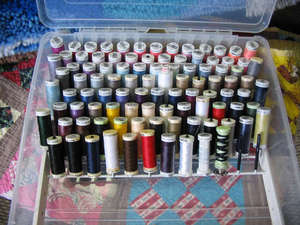 Metrosene Mettler Art. #1161/9161 Storage Box, 104 Spool Organizer Rack Stand, with 40 x 164 Yard Spools of Best All Purpose Sewing Threads, 50wt Poly